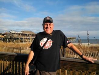 Randy enjoying 75 degrees on the Boardwalk!